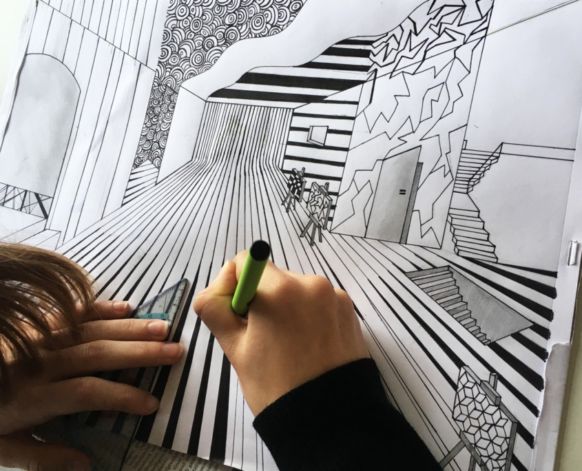 OP-ART TRIFFT FLUCHTPUNKT ZENTRALPERSPEKTIVISCHE UND SURREALISTISCHE RAUMDARSTELLUNG IM KUNSTUNTERRICHT - Ausarbeitung