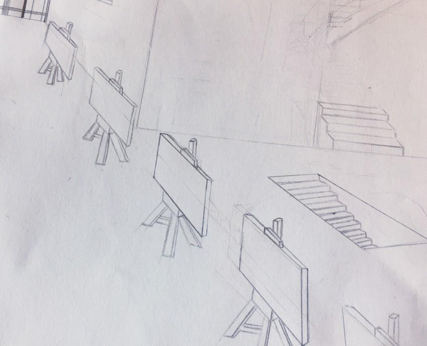 OP-ART TRIFFT FLUCHTPUNKT ZENTRALPERSPEKTIVISCHE UND SURREALISTISCHE RAUMDARSTELLUNG IM KUNSTUNTERRICHT - Skizze
