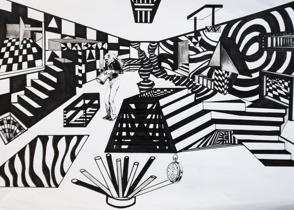 OP-ART TRIFFT FLUCHTPUNKT ZENTRALPERSPEKTIVISCHE UND SURREALISTISCHE RAUMDARSTELLUNG IM KUNSTUNTERRICHT - Schülerarbeit Endergebnis