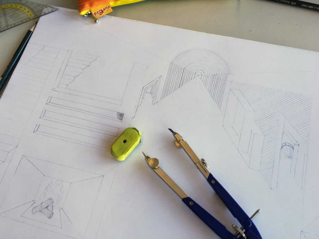 OP-ART TRIFFT FLUCHTPUNKT ZENTRALPERSPEKTIVISCHE UND SURREALISTISCHE RAUMDARSTELLUNG IM KUNSTUNTERRICHT - Arbeitsprozess