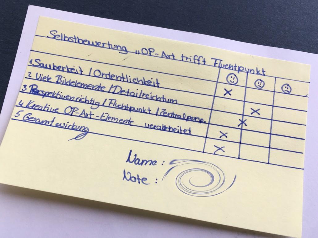 OP-ART TRIFFT FLUCHTPUNKT ZENTRALPERSPEKTIVISCHE UND SURREALISTISCHE RAUMDARSTELLUNG IM KUNSTUNTERRICHT - Bewertung Note Selbsteinschätzung im Kunstunterricht