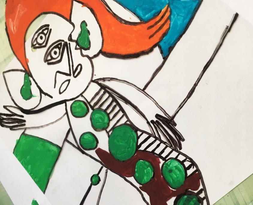 AUF DEN SPUREN PABLO PICASSOS KOMPLEMENTÄR-KONTRAST UND HINTERGLASMALEREI IM KUNSTUNTERRICHT - Folie Rückseite mit Acrylfarbe