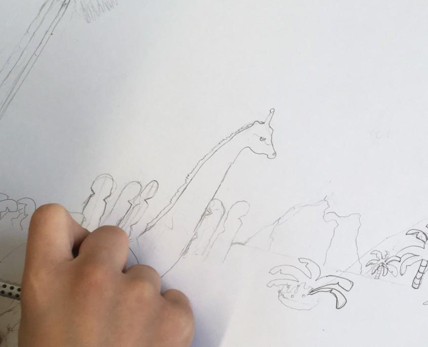 SURREALE BILDWELTEN IM STILE SALVADOR DALÌS 'DIE VERSUCHUNG DES HEILIGEN ANTONIUS' MIT WASSERFARBEN UND BUNTSTIFTEN IM KUNSTUNTERRICHT - Bleistiftzeichnung