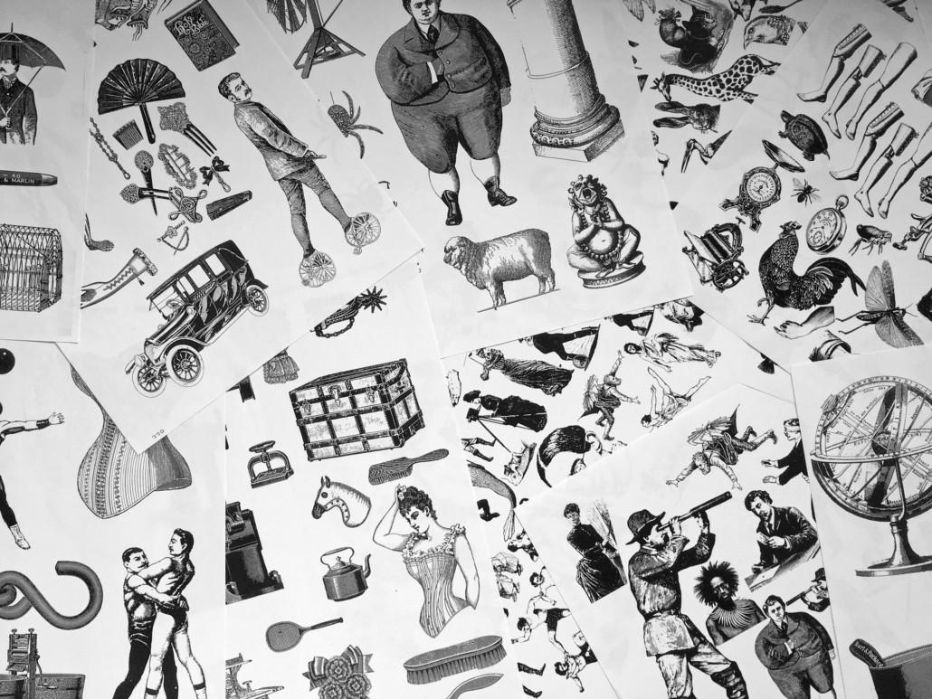 Surreale Collagen nach Max Ernst - Schnippelbuch Kopien