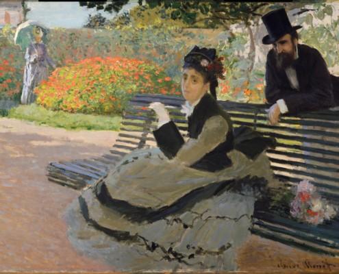 Claude Monet / Camille Monet auf einer gartenbank (Die Bank) / 1873