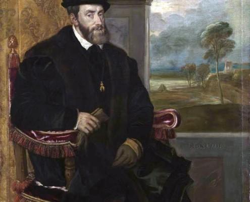 Tizian (eigentlich Tiziano Vecellio) / Porträt von Karl V. / 1548
