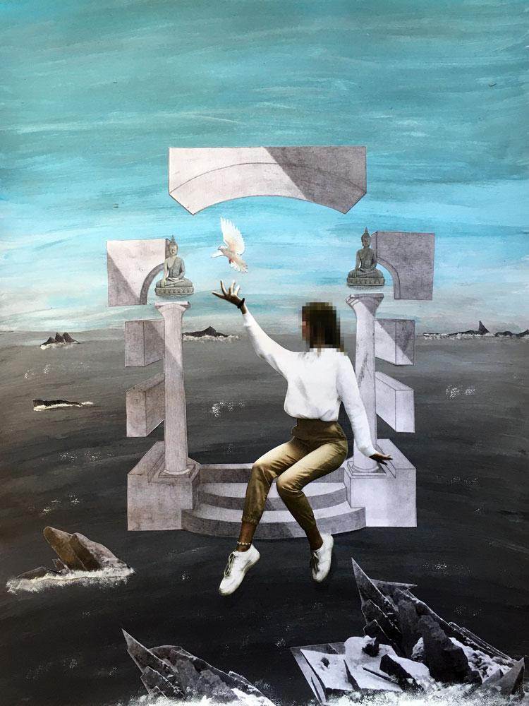 """SCHWEBEN WIE GALA DALÌ SURREALE BILDWELTEN IM STILE SALVADOR DALÌS """"DIE MADONNA VON PORT LLIGAT"""" - Schülerarbeit Endergebnis"""