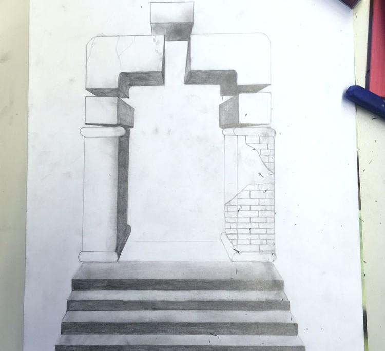 """SCHWEBEN WIE GALA DALÌ SURREALE BILDWELTEN IM STILE SALVADOR DALÌS """"DIE MADONNA VON PORT LLIGAT"""" - Zeichnung"""