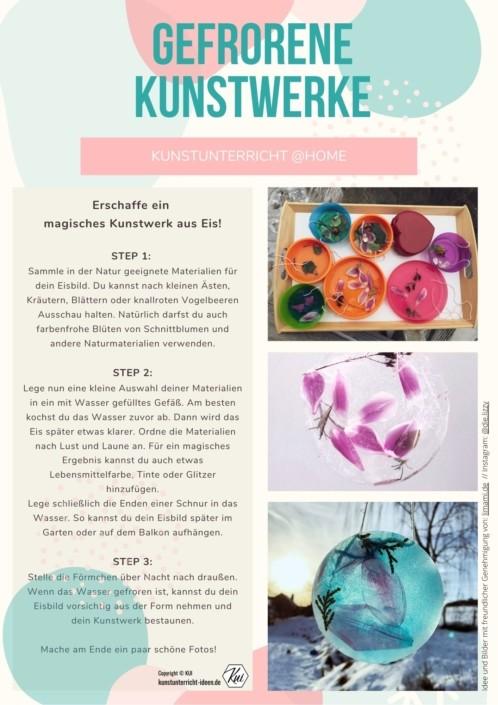 Eisbilder - Gefrorene Kunstwerke - Aufgaben für den Kunstunterricht im Homeschooling und Fernlernunterricht