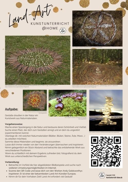 Kunstunterricht - Homeschooling - Fernlernunterricht - Land-Art - Arbeitsblatt - Aufgabe