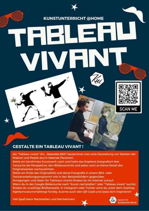 Kunst nachstellen - Tableau Vivant - Aufgaben für den Kunstunterricht im Homeschooling und Fernlernunterricht